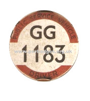GG 1183 A very early issue badge from the South Wales Traffic Area. The 183rd issued.