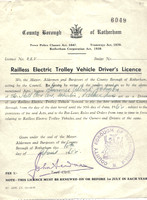 County Borough of Rotherham Trolleybus Drivers Licence. Thanks to Lawrence Jackson for the image.