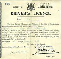 City of Nottingham Trolleybus Drivers Licence